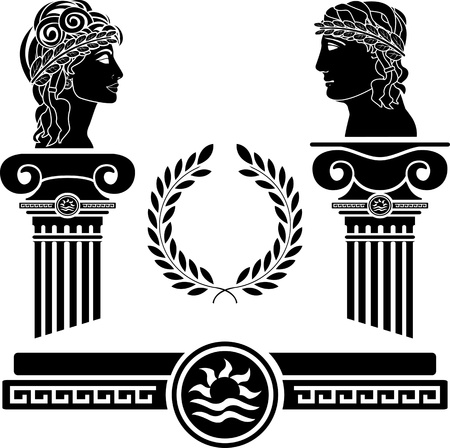 mythology: greek columns and human heads. vector illustration