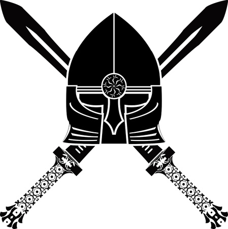 medieval helmet and swords. vector illustration