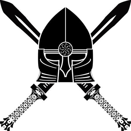 antiquities: medieval helmet and swords. vector illustration