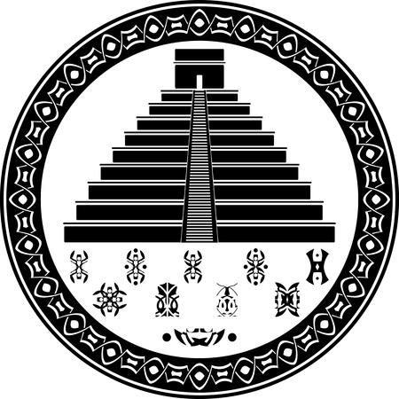 mayan pyramid and fantasy symbols. stencil. vector illustration Vector