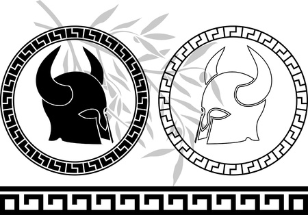 fantasy ancient helmets. stencil. first variant. illustration Vector