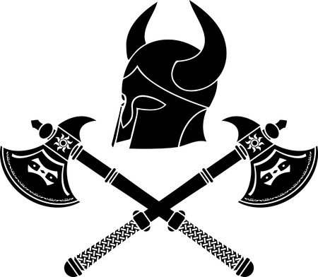 fantasy barbarian helmet with axes. stencil. first variant. illustration Stock Vector - 11984207