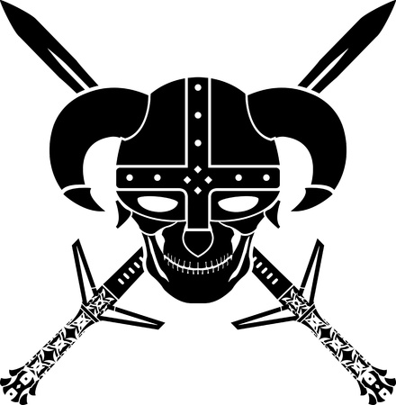 hilt: helmet and swords of fantasy warrior. first variant. illustration