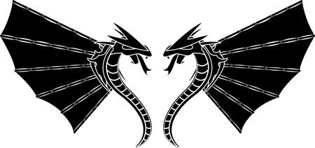 bamboo dragons. illustration for design Vector