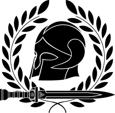 sparta: Fantasy-Barbaren Helm mit Lorbeerkranz. Schablone. erste Variante. Abbildung Illustration