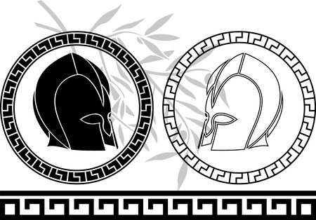 fantasy ancient helmets. stencil. second variant Vector