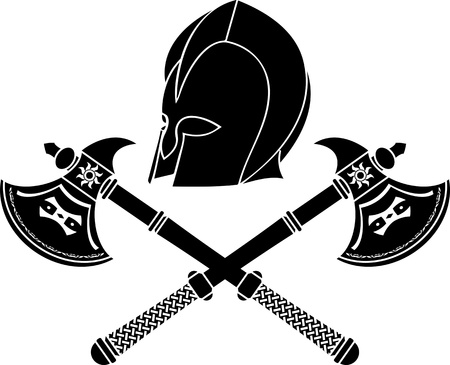 fantasy barbarian helmet with axes. stencil. second variant. Stock Vector - 12074949