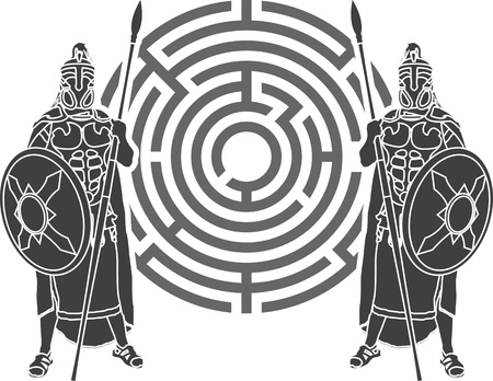 roman mythology: labyrinth and guards. stencil.