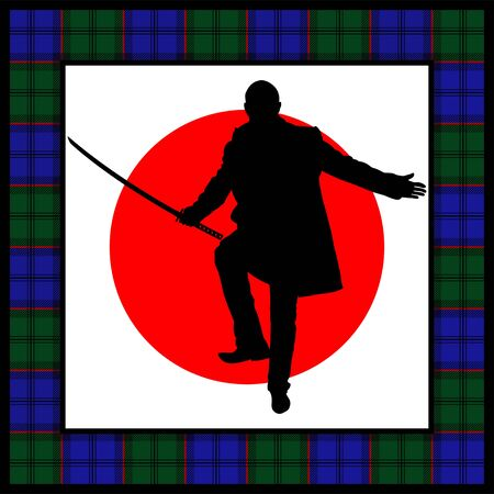 warlike: silhouette of man with sword.