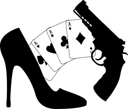 mujer con arma: tarjetas, una pistola y zapato de las mujeres. ilustraci�n vectorial