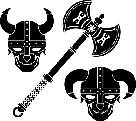 fantasy axe and helmets. vector illustration