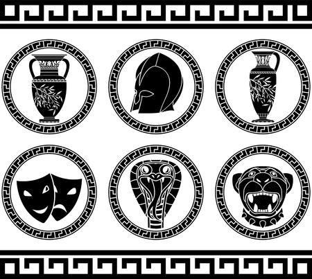 hellenic buttons. stencil. third variant. vector illustration illustration