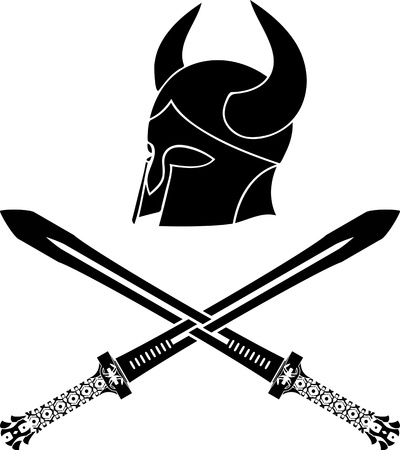 fantasy barbarian helmet with swords. stencil. first variant. vector illustration Vector