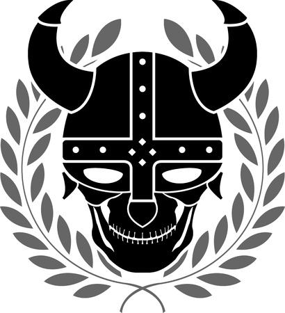 sparta: Fantasy-Helm mit Lorbeerkranz. zweite Variante. Vektor-Illustration