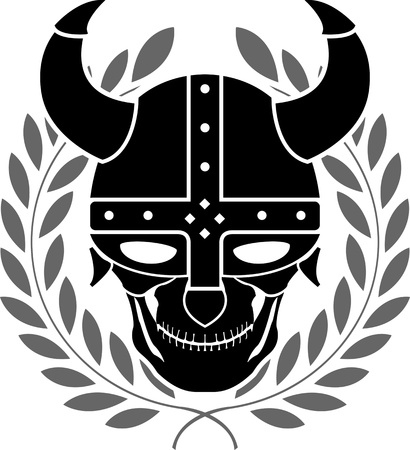 variant: fantasy helmet with laurel wreath. second variant. vector illustration Illustration