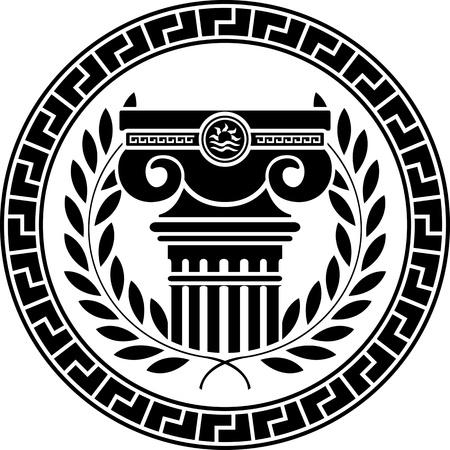 arte greca: ellenico colonna e corona d'alloro. illustrazione vettoriale