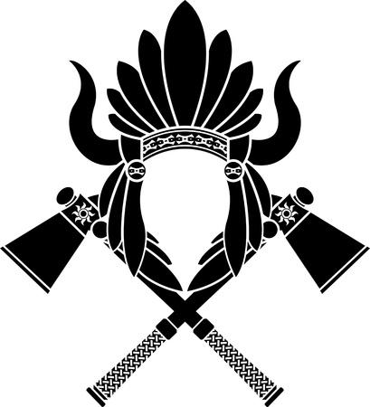 guerriero indiano: American Indian copricapo e tomahawk. stencil. illustrazione vettoriale Vettoriali