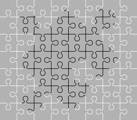 conclude: stencil of puzzle pieces. fourth variant. vector illustration