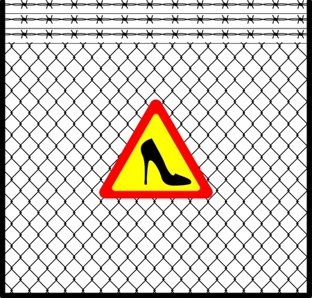 barb: warning sign with women s shoe