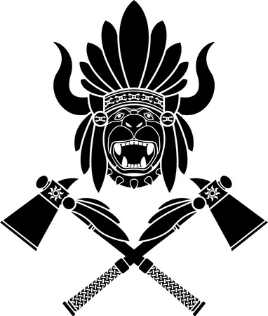 variant: American Indian headdress and tomahawks. second variant. stencil. vector illustration