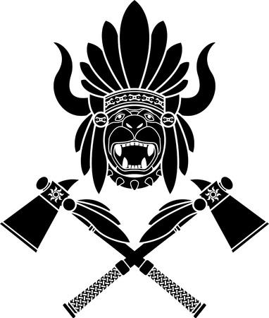 head-dress: American Indian stroik, tomahawki. Drugi wariant. szablon. ilustracji wektorowych