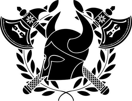 norse: fantasy barbarian helmet with axes and laurel wreath  stencil  first variant  vector illustration Illustration