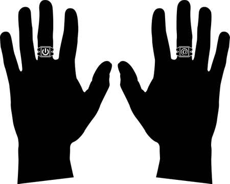ring finger: hands with rings  stencil  vector illustration Illustration