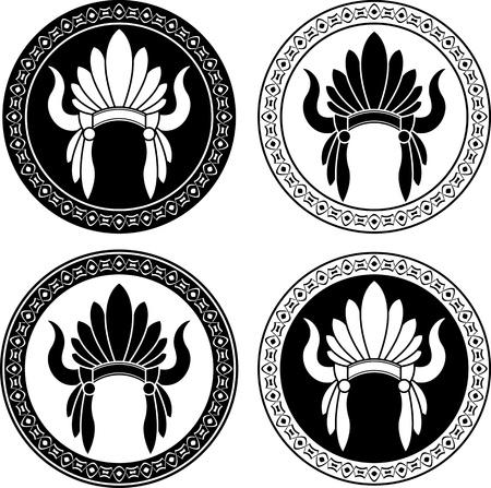 Native American Indian headdress  stencils  vector illustration Vector