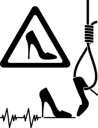 noose: set of signs of abstract danger woman  vector illustration