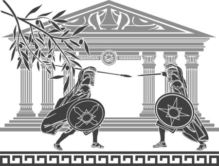 hellenic: greek warriors and temple  stencil  vector illustration