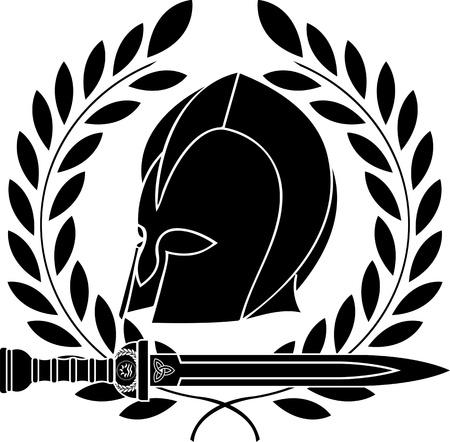 antigua grecia: la fantasía bárbara casco con corona de laurel plantilla segunda variante de la ilustración vectorial Vectores