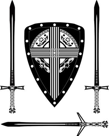 celtic culture: fantasy european shield and swords  stencil  vector illustration