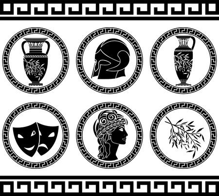 diosa griega: botones de la plantilla helénicos cuarta variante ilustración vectorial