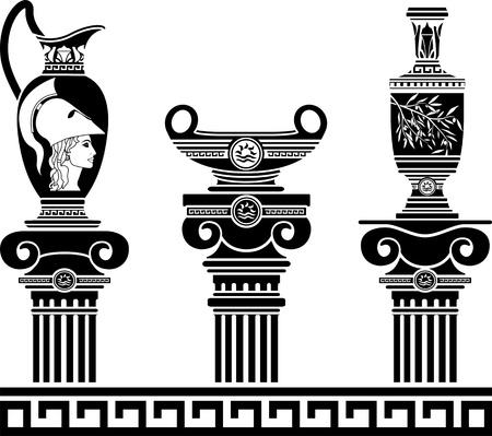 cascos romanos: un conjunto de vasos helénicos y columnas jónicas ilustración vectorial plantillas