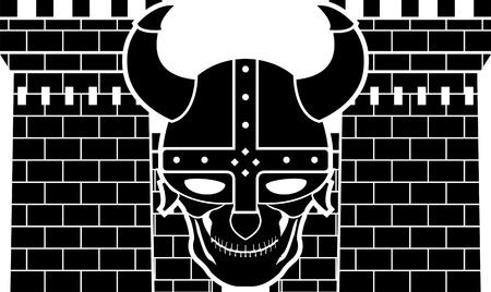 built tower: dos torres y el cr�neo de la ilustraci�n vectorial viking