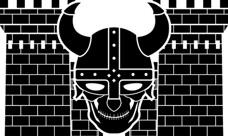 two towers and skull of viking vector illustration Vetores