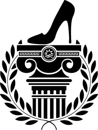 columna corintia: columna, corona de laurel y la plantilla de zapato de las mujeres Vectores