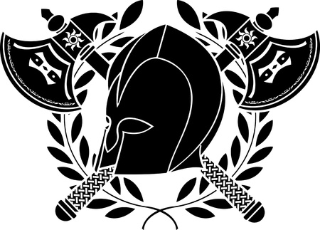 viking helmet: fantasy barbarian helmet with axes and laurel wreath  stencil  second variant  vector illustration Illustration