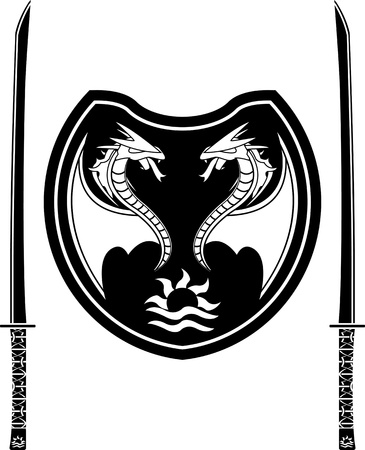 katana: fantasy shield and swords of eastern warriors  vector illustration Illustration