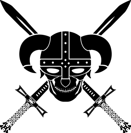 horned: helmet and swords of fantasy warrior  second variant  vector illustration Illustration