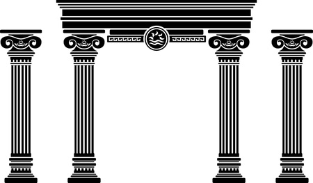 architectural elements: fantasy arch and columns  stencil  sixth variant
