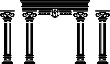 Fantasy-Bogen und Säulen Schablone sechste Variante Vektorgrafik