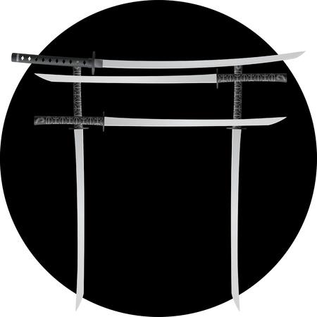 torii: torii puerta con espadas japonesas