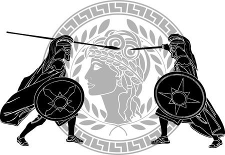 Trojaanse oorlog stencil Vector Illustratie