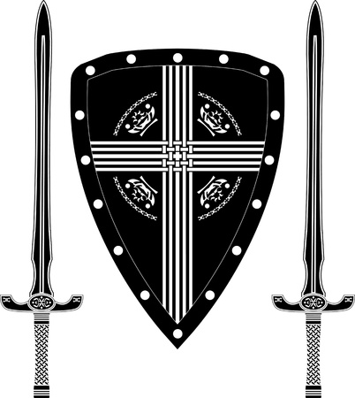 shield and sword: fantasy shield and swords of european warriors  vector illustration
