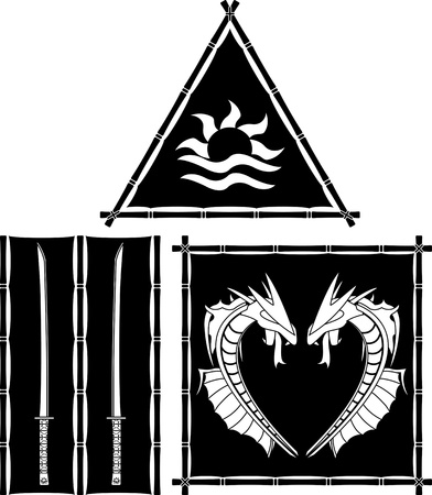 standards: stencils of fantasy east flags and standards  vector illustration