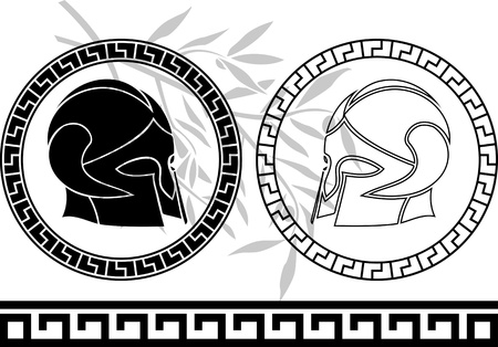 fantasy ancient helmets  stencil  third variant  vector illustration Vector