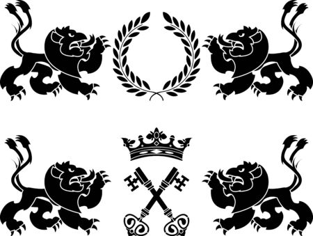 heraldic monsters  stencils  vector illustration Vector