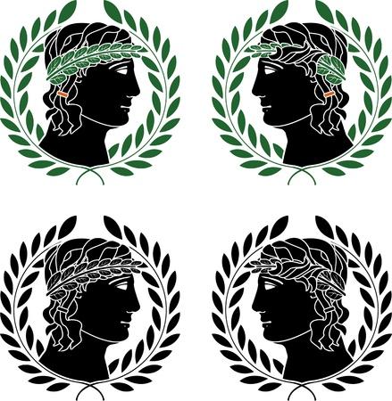 ancient greece: profile of greek men  stencils  vector illustration
