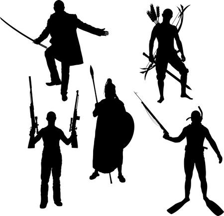 silhouette soldat: des silhouettes de guerriers illustration vectorielle